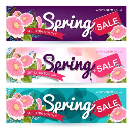 春の販売バナー ポスター タグ デザイン。ベクトル図  イラスト・ベクター素材