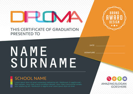 certificate design: Preschool Kids Diploma certificate background design template