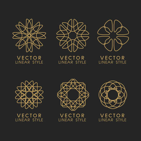 Vector set of linear design elements, logo design templates and mono line badges for packaging ,vector illustration Illustration
