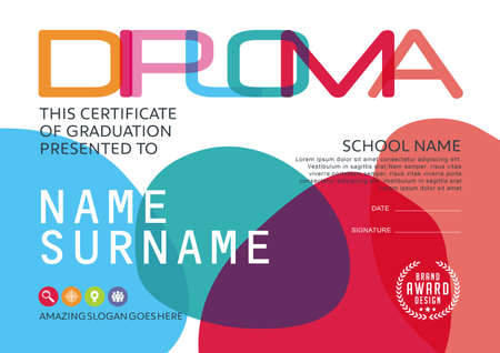 certificate template: Preschool Kids Diploma certificate background design template