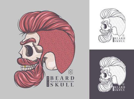 skull with beard and hair,Bearded skull illustration
