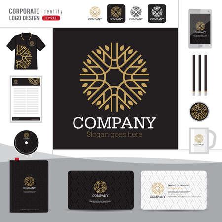 boutique hotel: Resumen monograma elegante dise�o logotipo, logotipo plantilla de identidad corporativa abstracta, identidad corporativa, Emblema abstracto y elegante hotel, restaurante, ilustrador vectorial