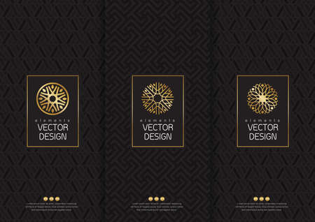 ensemble de modèles d'emballage, des étiquettes et des cadres pour l'emballage des produits de luxe dans un style à la mode linéaire, poster, identité, marque, icône, seamless style tendance linéaire, noir, collection design d'emballage, illustration Vecteurs