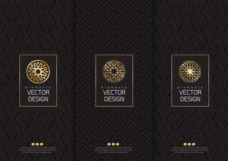 set van templates verpakkingen, etiketten en frames voor verpakkingen voor luxeproducten in de trendy lineaire stijl, poster, identiteit, branding, pictogram, naadloze patroon in trendy lineaire stijl, zwart, wit, inzameling verpakking ontwerp, illustratie Stock Illustratie
