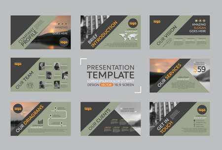 브로셔 마케팅 및 회사 프로필 용 프리젠 테이션 템플릿 세트