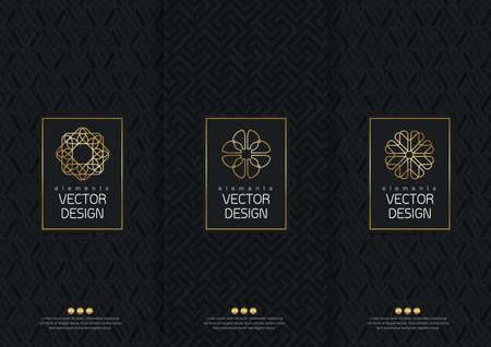 ensemble de modèles d'emballage, des étiquettes et des cadres pour l'emballage des produits de luxe dans un style à la mode linéaire, poster, identité, marque, icône, seamless style tendance linéaire, noir, collection design d'emballage, illustration