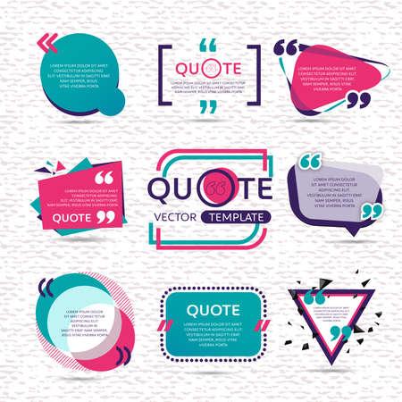 Vector set van creatief citaat tekst sjabloon met kleurrijke achtergrond Stockfoto - 62131563