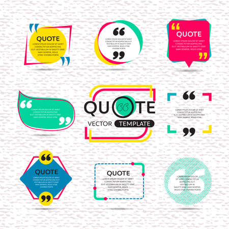 quotation marks: vector set of Creative quote text template with colorful background