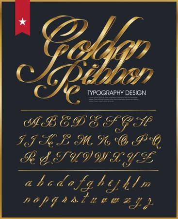광택 골드 장식 실크 리본 타이포그래피 글꼴 유형