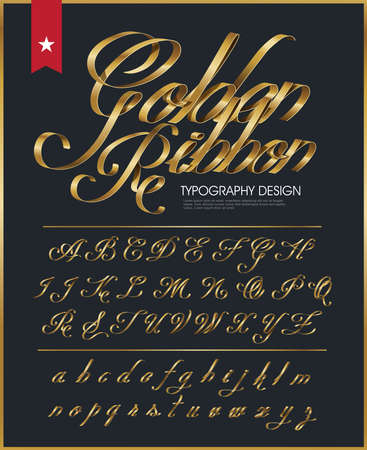 ribbon typography font type with Glossy gold decorative silk Çizim
