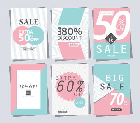 쇼핑을위한 판매 배너 포스터 태그 템플릿 집합 일러스트