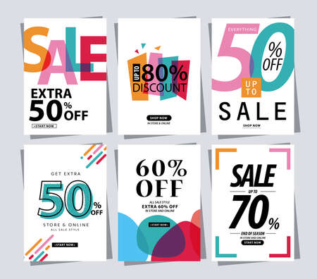set of Sale Banner poster tag template for shopping