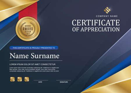 premios: plantilla de certificado con el modelo limpio y moderno, de oro de lujo, Certificado de calificación plantilla en blanco con un elegante, ilustración vectorial Vectores