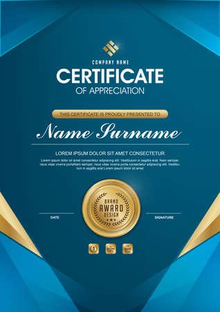 modèle de certificat avec un modèle propre et moderne, or de luxe, modèle vierge de certificat de qualification avec élégant, illustration vectorielle Vecteurs
