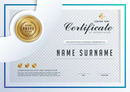 qualification: certificate template with clean and modern pattern,
