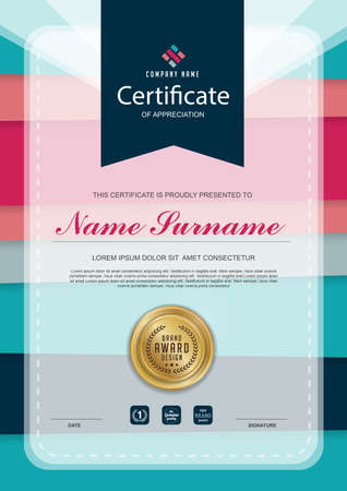 qualification: certificate template with clean and modern pattern,Luxury golden,Qualification certificate blank template with elegant,Vector illustration Illustration