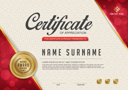 luxury template: certificate template with clean and modern pattern,Luxury golden,Qualification certificate blank template with elegant,Vector illustration Illustration