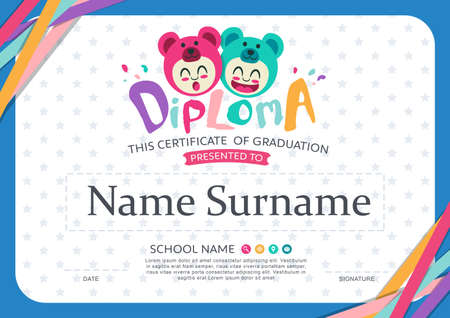 colorful background: Preschool Kids Diploma certificate background design template