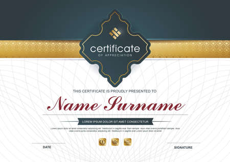 qualification: certificate template with clean and modern pattern;Luxury golden,Qualification certificate blank template with elegant,Vector illustration