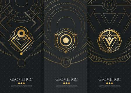 템플릿 포장의 벡터 설정, 기하학적 유행 선형 스타일, 정체성, 브랜드의 고급 제품, 최신 유행의 선형 스타일에서 황금 패턴 포장 블랙 라벨 및 프레임