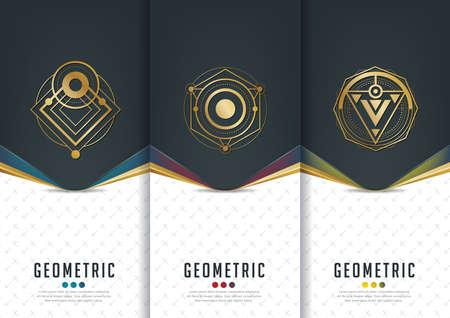 Vector ensemble de modèles d'emballage, les étiquettes noires et cadres pour l'emballage des produits de luxe dans le style géométrique linéaire à la mode, l'identité, l'image de marque, motif d'or dans le style tendance linéaire, illustration vectorielle Vecteurs