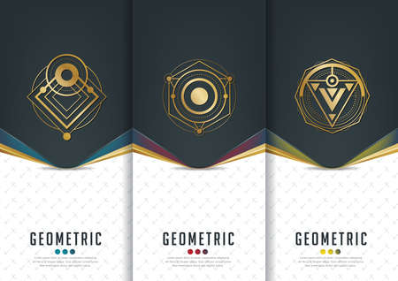 Vector set of templates packaging,black labels and frames for packaging for luxury products in geometric trendy linear style,identity,branding,golden pattern in trendy linear style,vector illustration Çizim