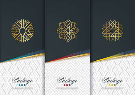 Vector set of templates packaging,black labels and frames for packaging for luxury products in geometric trendy linear style,identity,branding,golden pattern in trendy linear style,vector illustration Illusztráció