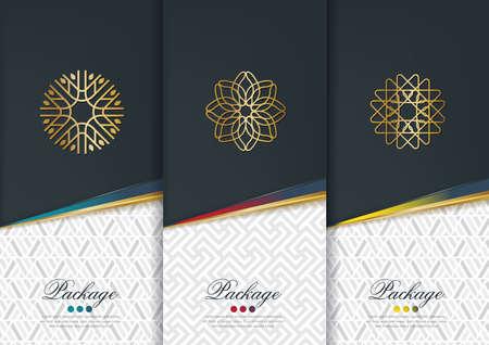 Wektor zestaw szablonów opakowań, etykiet i czarne ramy do opakowań produktów luksusowych w geometrycznym modnego stylu liniowym, tożsamości, brandingu, złoty wzór w modnym stylu liniowym, ilustracji wektorowych