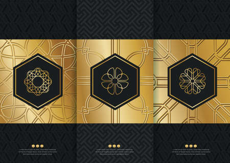 luxurious: Vector set of templates packaging, black labels and frames for packaging for luxury products in trendy linear style,banner,identity, branding,golden pattern in trendy linear style, vector illustration
