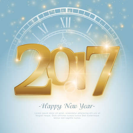 calligraphic: Happy New year 2017 greeting card. Vector illustration.Wallpaper.New year eve.