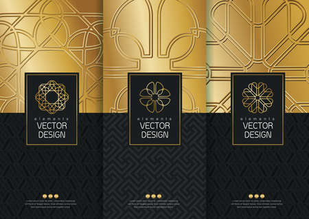 Vector set of templates packaging, labels and frames for packaging for luxury products in trendy linear style, banner, poster, identity, branding, icon, pattern in trendy linear style, black, golden,collection packaging design,vector illustration