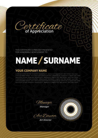 luxury template: certificate template with Luxury black and golden elegant pattern, illustration
