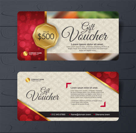 discount voucher template with clean and modern pattern and place for your business related photos.  illustration Foto de archivo - 132438314
