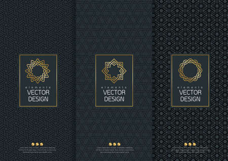 set of templates packaging, labels and frames for packaging for luxury products in trendy linear style, banner, poster, identity, branding, logo icon, seamless pattern in trendy linear style, black, ,collection packaging design, illustration
