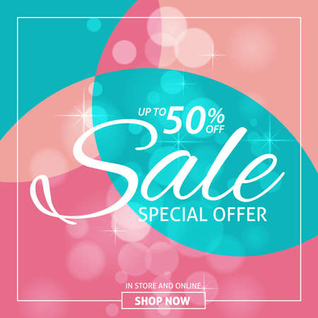 Sale shining banner on colorful background .Sale vector banner template - special offer 50% for shop