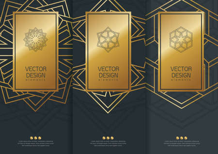 Vector set van templates verpakking, zwarte etiketten en frames voor verpakkingen voor luxeproducten in trendy lineaire stijl, banner, identiteit, branding, gouden patroon in trendy lineaire stijl, vector illustratie Stock Illustratie