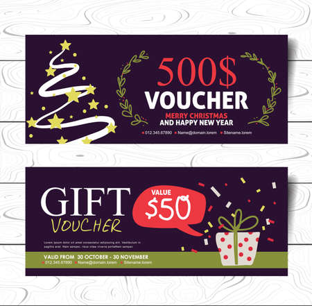 style template: Christmas and New Year hand drawn style gift voucher vector template