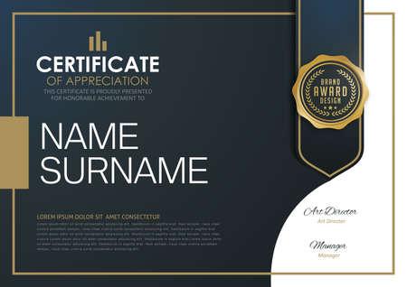certificate template: certificate template with luxury and modern pattern,diploma,Vector illustration Illustration