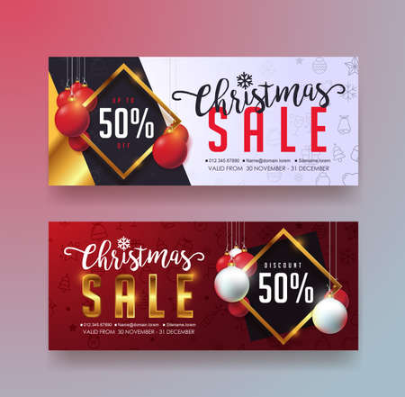 christmas sale banner templategift carddiscount vouchercouponvector illustration stock - Christmas Gift Card Deals