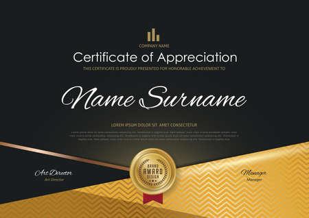 modello di certificato con lusso elegante modello dorato, Diploma design laurea, premio, successo. Illustrazione di vettore.