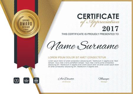 certificate design: certificate template with Luxury golden elegant pattern, Diploma design graduation, award, success.Vector illustration. Illustration