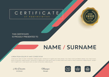 certificate template with modern pattern, Diploma design graduation, award, success.Vector illustration.