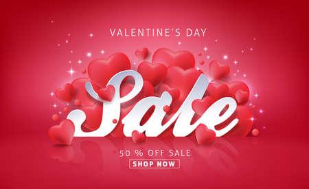 Fondo de venta de día de San Valentín con globos en forma de corazón. Vector illustration.banners.Wallpaper.flyers, invitación, carteles, folleto, descuento del vale.