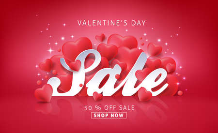 valentines background: Valentines day sale background with Heart Shaped Balloons. Vector illustration.banners.Wallpaper.flyers, invitation, posters, brochure, voucher discount.