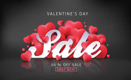 심장 모양의 풍선 발렌타인 데이 판매 배경. 벡터 illustration.banners.Wallpaper.flyers, 초대장, 포스터, 브로셔, 쿠폰 할인.