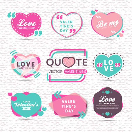 vector set of valentines day Creative quote text template with Heart Shaped colorful background Illustration
