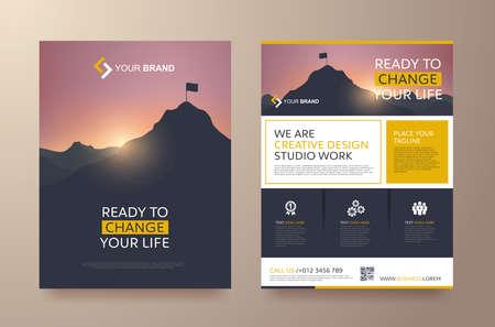 poster dépliant espace couverture de la brochure de brochure de conception de mise en page pour fond de photo, modèle vectoriel en format A4 Vecteurs