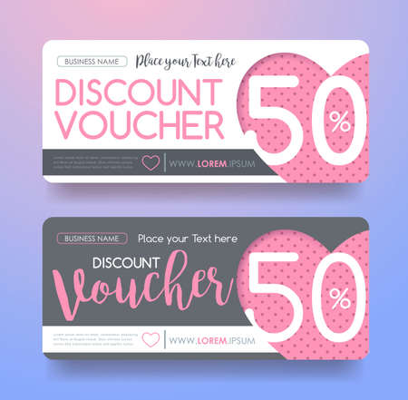 discount tag: Gift Voucher discount template with Valentines day sale background . Vector illustration.banners.Wallpaper.flyers, invitation, posters,tag, brochure.