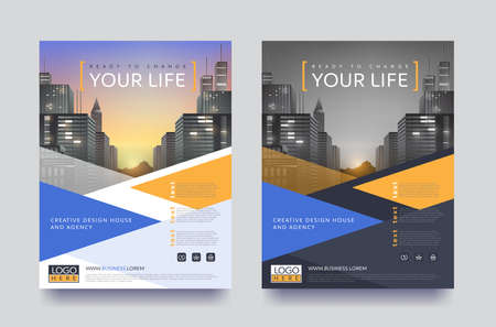 poster flyer pamphlet brochure cover design layout space for photo design, vector template in A4 size Çizim