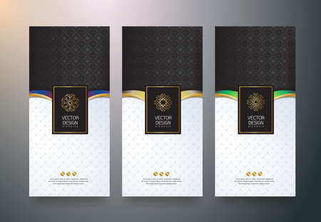 Vector set packaging templates black golden labels and frames for luxury products in trendy linear style,banner,tag,identity, branding,vector illustration Stock Vector - 70080663